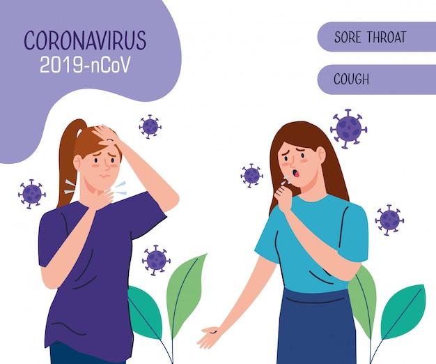 Bannière avec des femmes malades du coronavirus 2019 ncov