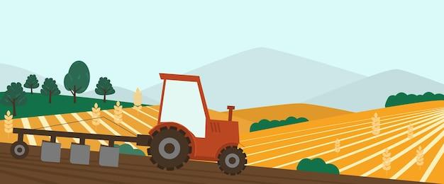 Bannière de ferme agricole. tracteur cultivant le champ à l'illustration du printemps.
