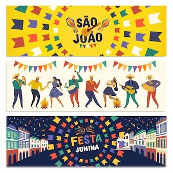 Bannière festa junina de célébration traditionnelle brésilienne