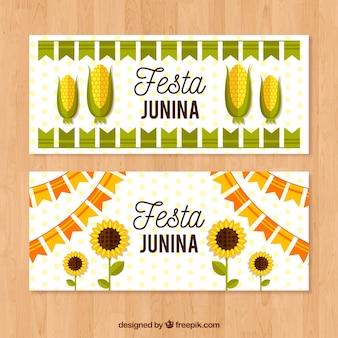 Bannière festa junina avec du maïs et des tournesols