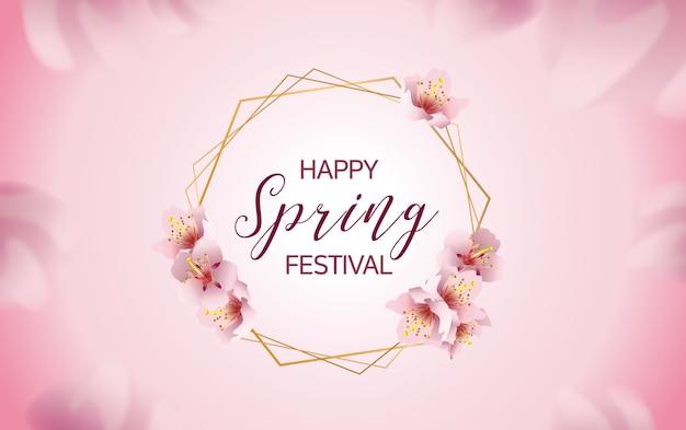 Bannière de festival de printemps fleurs de cerisier