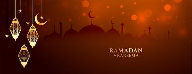 Bannière de festival traditionnel ramadan kareem avec lampes suspendues