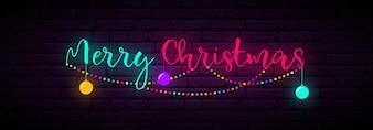 Bannière festive avec inscription joyeux Noël.