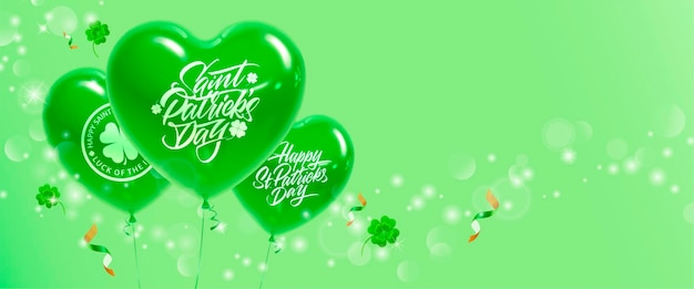 Bannière festive avec des ballons et du trèfle pour la célébration de la saint-patrick.