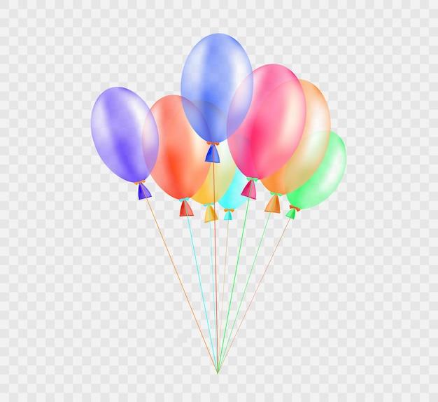 Bannière festive avec des ballons sur fond transparent