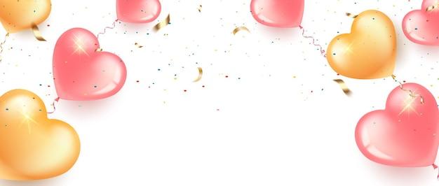 Bannière festive avec des ballons en forme de coeur rose et or, des confettis et de la serpentine.