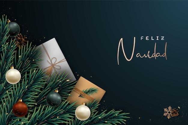 Bannière festive feliz navidad