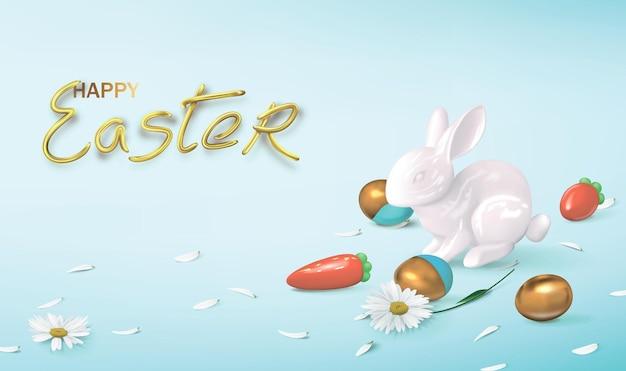 Bannière festive avec des figures en céramique d'un lièvre et des carottes avec des oeufs de pâques et des fleurs d'or