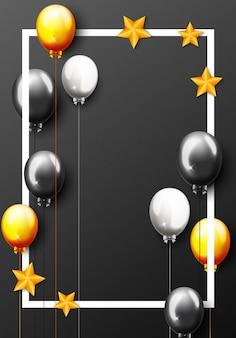 Bannière de fête avec ballons dorés et confettis