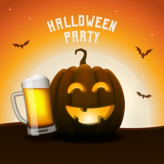Bannière de fête de bière citrouille halloween. jack-o-lantern avec chope de bière.