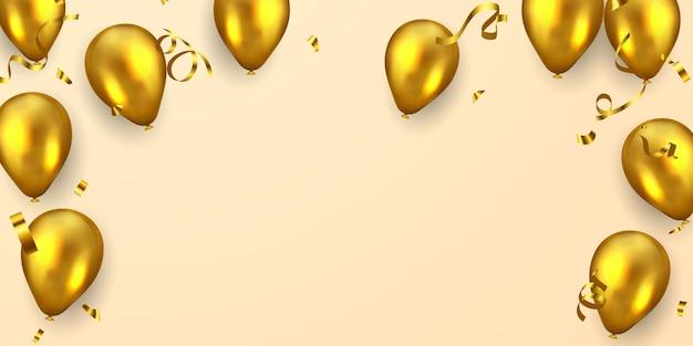 Bannière de fête de cadre de célébration avec fond de ballons d'or. illustration vectorielle de vente. grand opening card salutation de luxe riche.