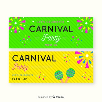 Bannière de fête de carnaval de feux d'artifice