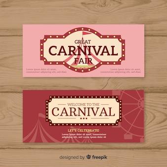 Bannière de fête de carnaval plat