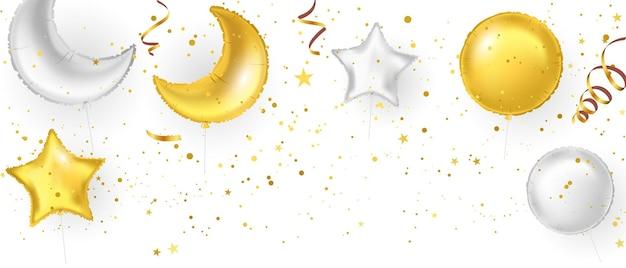 Bannière de fête de célébration avec des ballons d'or