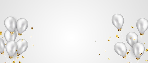 Bannière de fête de célébration avec fond de ballons de couleur argent. vente . grande carte d'ouverture de voeux de luxe riche.