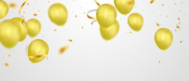 Bannière de fête de célébration avec fond de ballons d'or. vente . grande carte d'ouverture de voeux de luxe riche.
