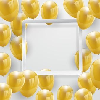 Bannière fête célébration avec fond de ballons d'or