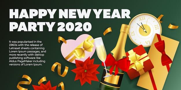 Bannière de fête avec champagne et cadeaux