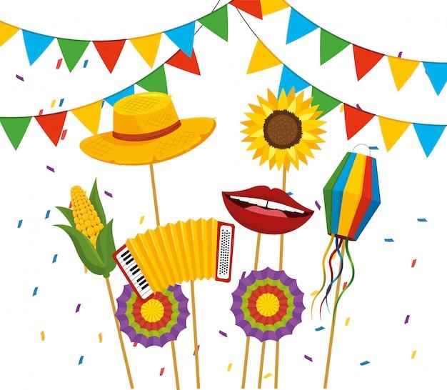 Bannière fête avec chapeau et fleurs à festa junina