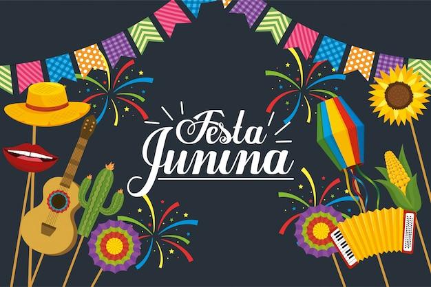 Bannière de fête à la décoration festa junina
