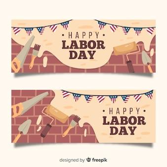 Bannière de la fête du travail dessinée à la main
