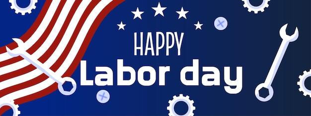 Une bannière de la fête du travail avec des outils étoiles et un drapeau américain bannière de la fête du travail américaine
