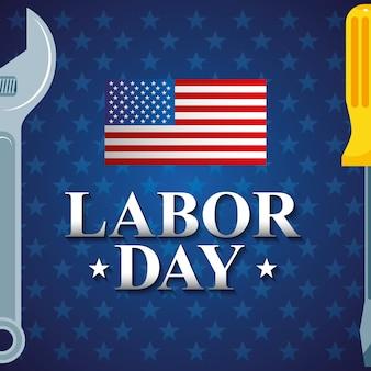 Bannière de la fête du travail avec outils et illustration du drapeau