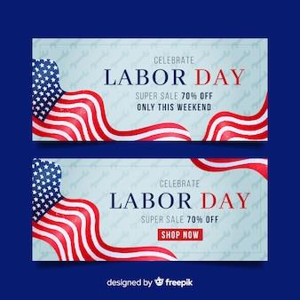 Bannière de la fête du travail pour les ventes avec drapeau américain