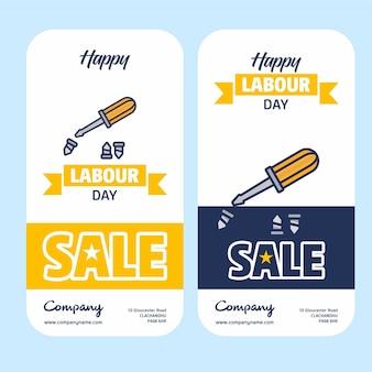 Bannière de la fête du travail de la vente