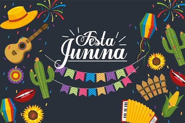 Bannière, fête, festa, junina, célébration