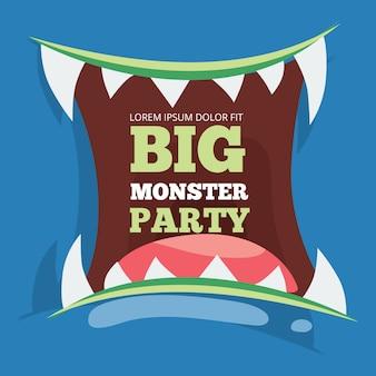 Bannière de fête gros monstre avec monstre