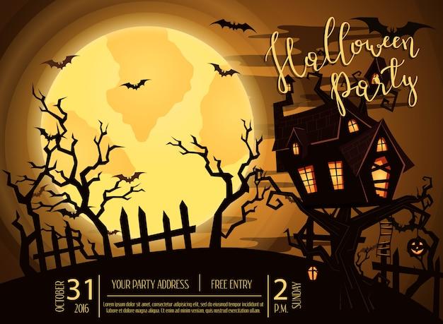 Bannière de fête d'halloween avec château fantasmagorique