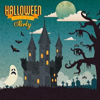 Bannière de la fête halloween avec château hanté et icônes