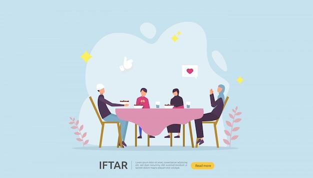 Bannière de fête d'iftar manger après le jeûne