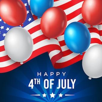 Bannière de la fête de l'indépendance américaine, affiche ou carte de voeux avec drapeau national et ballons sur fond bleu, illustration vectorielle