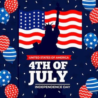 Bannière de la fête de l'indépendance avec drapeau et ballons