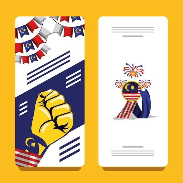 Bannière de la fête de l'indépendance de la malaisie