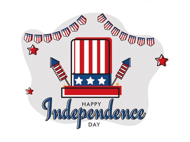 Bannière de fête de l'indépendance style plat