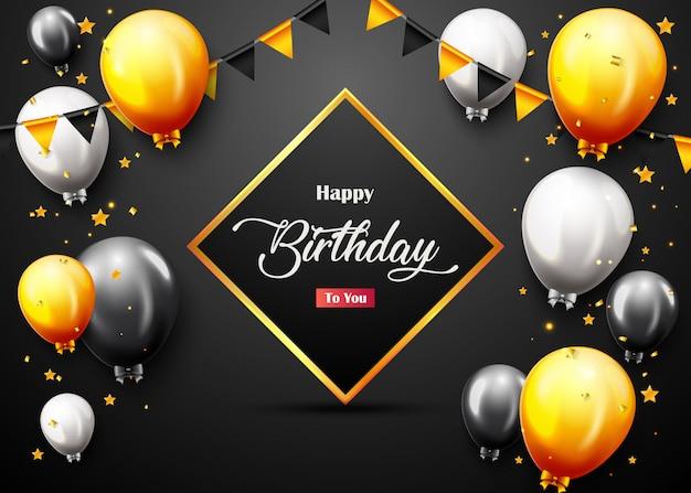 Bannière de fête joyeux anniversaire avec ballons dorés