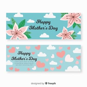 Bannière de fête des mères ciel dessiné à la main