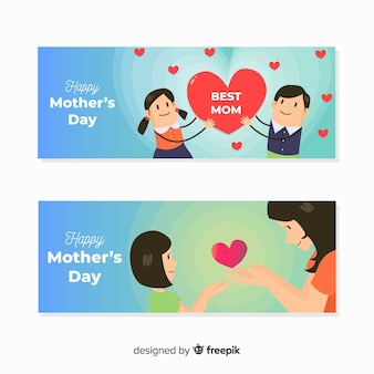 Bannière de fête des mères dessinée à la main