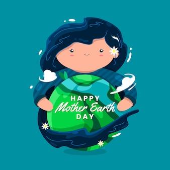 Bannière de la fête des mères avec femme étreignant la terre