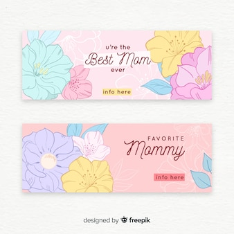 Bannière de fête des mères de fleurs de couleur pastel