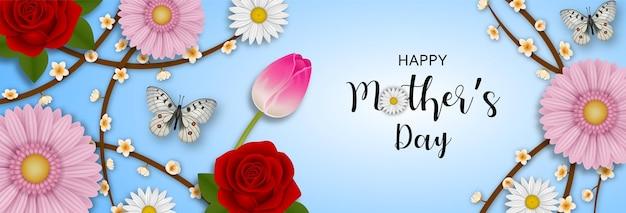 Bannière de fête des mères heureuse avec des fleurs et des papillons