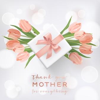 Bannière de fête des mères heureuse avec des fleurs de tulipe. conception de la fête des mères avec boîte-cadeau pour carte de voeux, flyer, affiche, modèle de vente de brochure. illustration vectorielle
