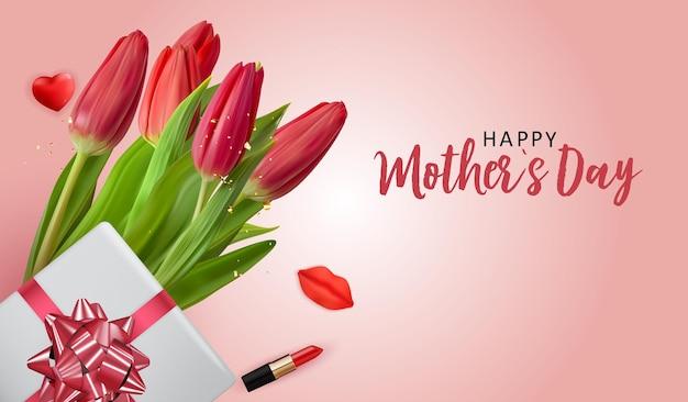 Bannière de fête des mères heureuse avec des fleurs de tulipes réalistes et une boîte-cadeau.