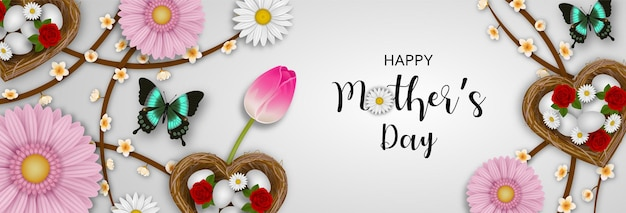 Bannière de fête des mères heureuse avec nids en forme de coeur, papillons et fleurs