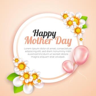 Bannière de fête des mères moderne avec modèle de médias sociaux de style dessin animé de fleurs 3d