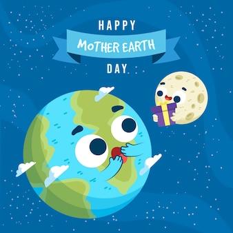 Bannière de la fête des mères avec terre et lune