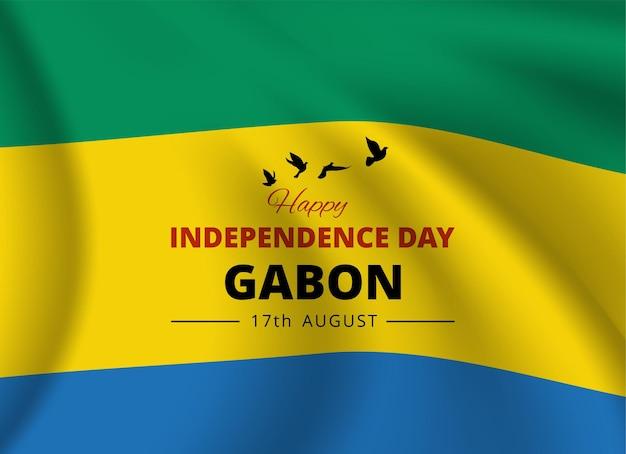 Bannière de la fête nationale avec le drapeau du gabon. vecteur